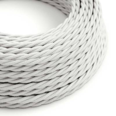 White Cotton covered Twisted electric cable 2x18 AWG - TC01
