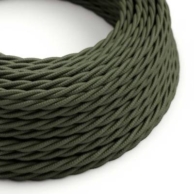 Gray Green Cotton covered Twisted electric cable 2x18 AWG - TC63