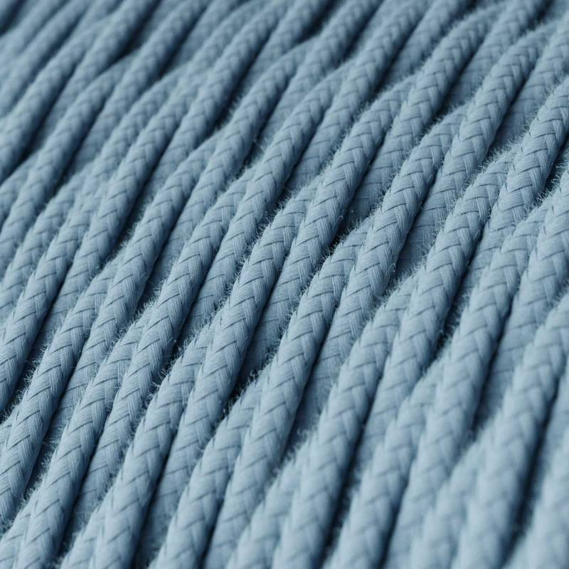Baby Blue Cotton covered Twisted electric cable 2x18 AWG - TC53