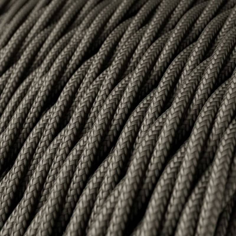 Dark Gray Rayon covered Twisted electric cable 2x18 AWG - TM26