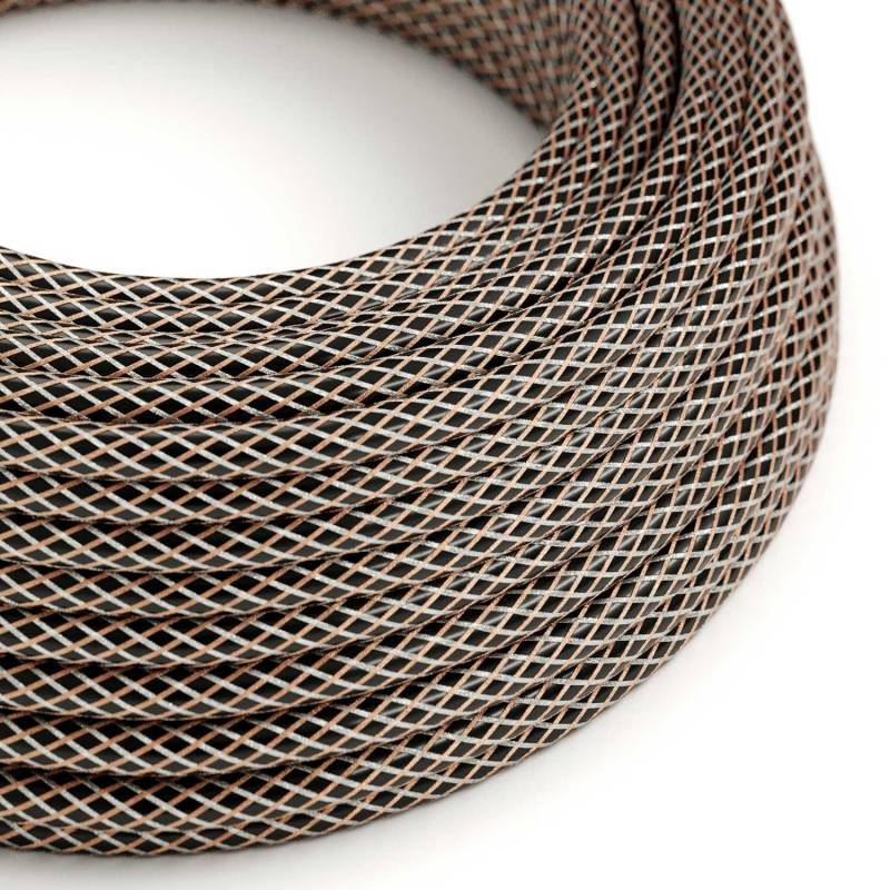 Copper Houndstooth covered Round electric cable - RR03