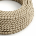 Natural & Brown Linen Stripe covered Round electric cable - RD53