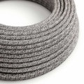 Black Glitter Cotton & Natural Linen Tweed covered Round electric cable - RS81