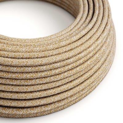 Brown Glitter Cotton & Natural Linen Tweed covered Round electric cable - RS82