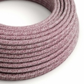 Red Glitter Cotton & Natural Linen Tweed covered Round electric cable - RS83