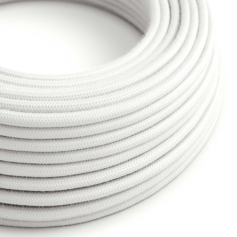 White Cotton covered Round electric cable - RC01