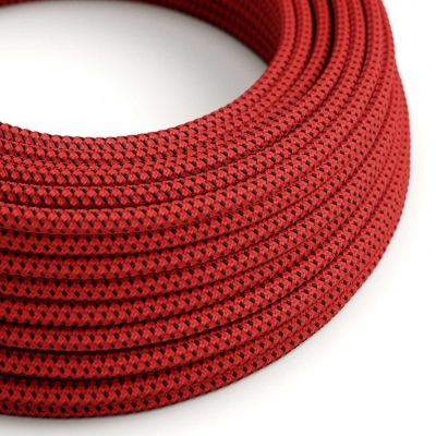 Red & Black Tracer covered Round electric cable - RT94