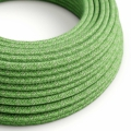 Green Cotton Tweed covered Round electric cable - RX08