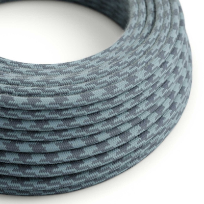 Blue Cotton Houndstooth covered Round electric cable - RP25