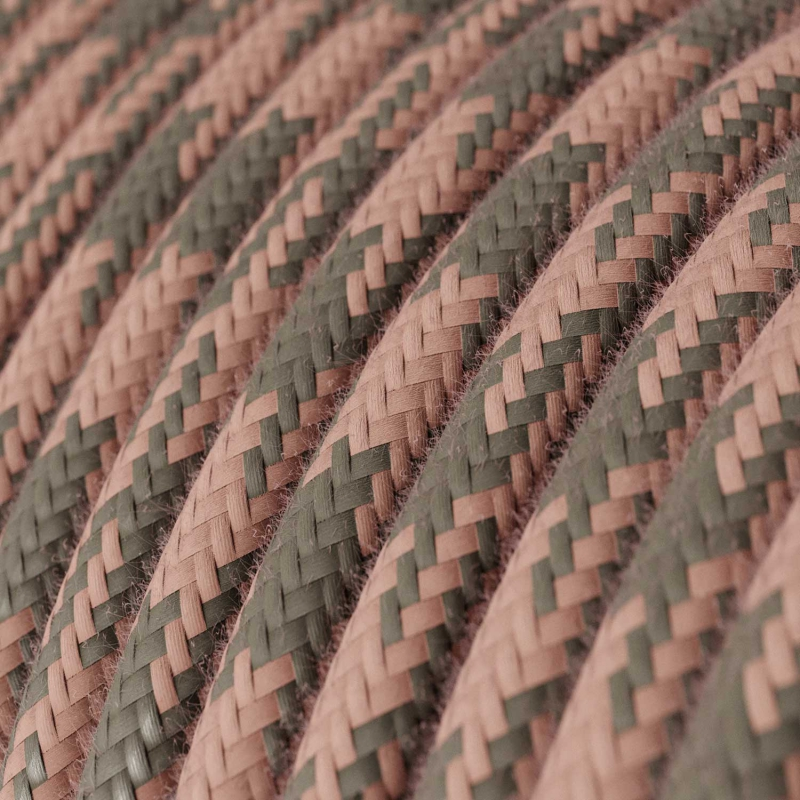Pink & Gray Cotton Houndstooth covered Round electric cable - RP26