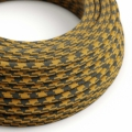 Mustard & Gray Cotton Houndstooth covered Round electric cable - RP27