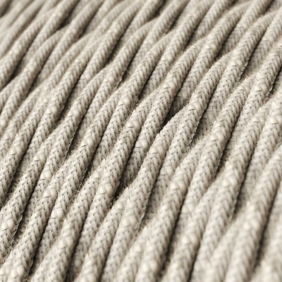 Natural Linen covered Twisted electric cable 3x18 AWG - TN01