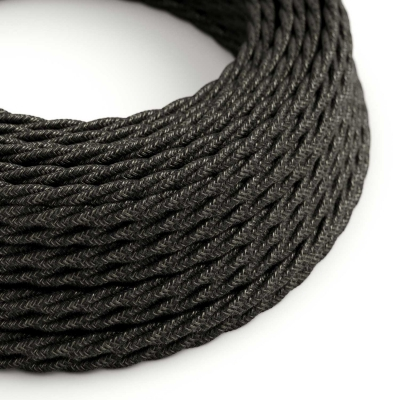 Charcoal Linen covered Twisted electric cable 3x18 AWG - TN03