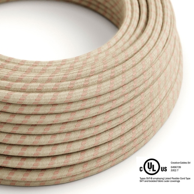 Natural & Pink Linen Stripe covered Round electric cable - RD51