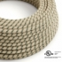 Natural & Charcoal Linen Stripe covered Round electric cable - RD54