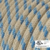 Natural & Blue Linen Stripe covered Round electric cable - RD55