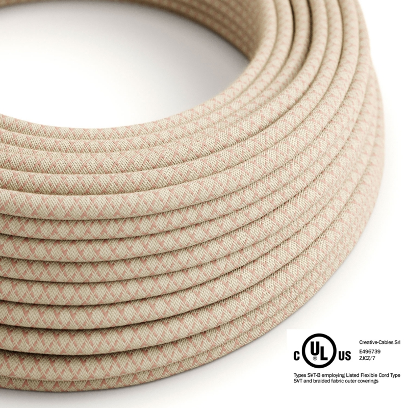 Natural & Pink Linen CrissCross covered Round electric cable - RD61
