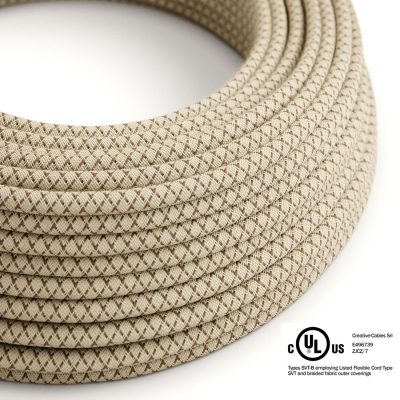 Natural & Brown Linen CrissCross covered Round electric cable - RD63