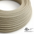 Natural & Charcoal Linen CrissCross covered Round electric cable - RD64