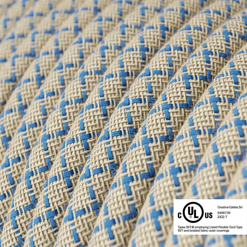 Natural & Blue Linen Criss Cross covered Round electric cable - RD65