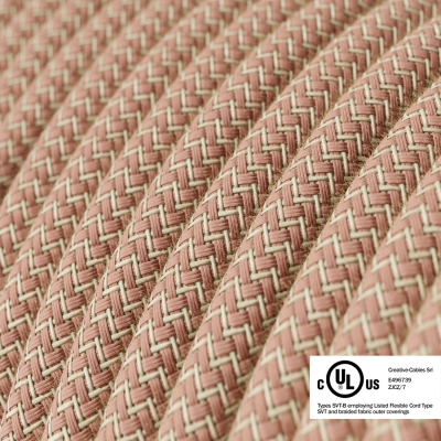 Natural & Pink Linen Chevron covered Round electric cable - RD71