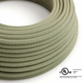 Natural & Thyme Green Linen Chevron covered Round electric cable - RD72