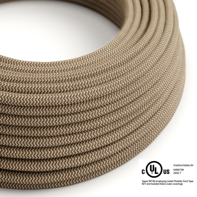 Natural & Brown Linen Chevron covered Round electric cable - RD73