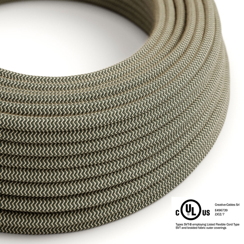 Natural & Charcoal Linen Chevron covered Round electric cable - RD74