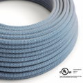 Natural & Blue Linen Chevron covered Round electric cable - RD75