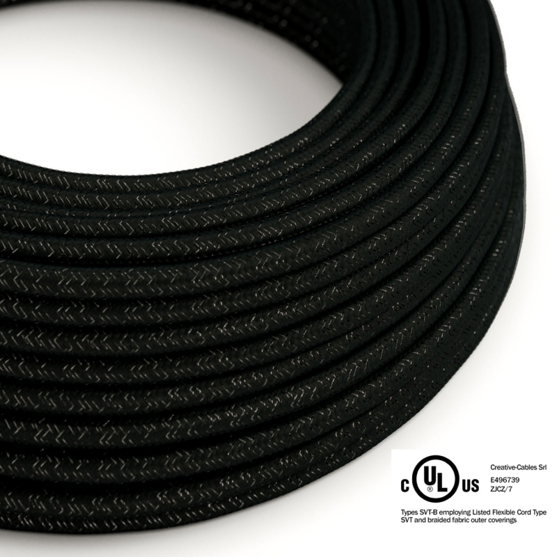 Black Glitter covered Round electric cable - RL04