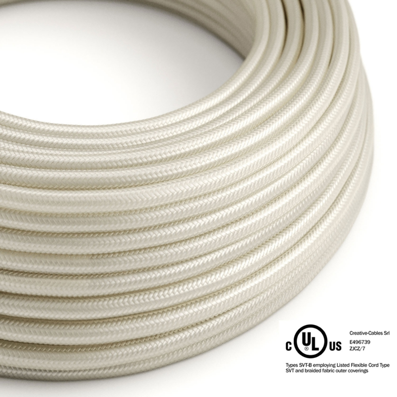 Ivory Rayon covered Round electric cable - RM00