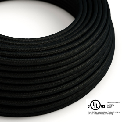 Black Rayon covered Round electric cable - RM04