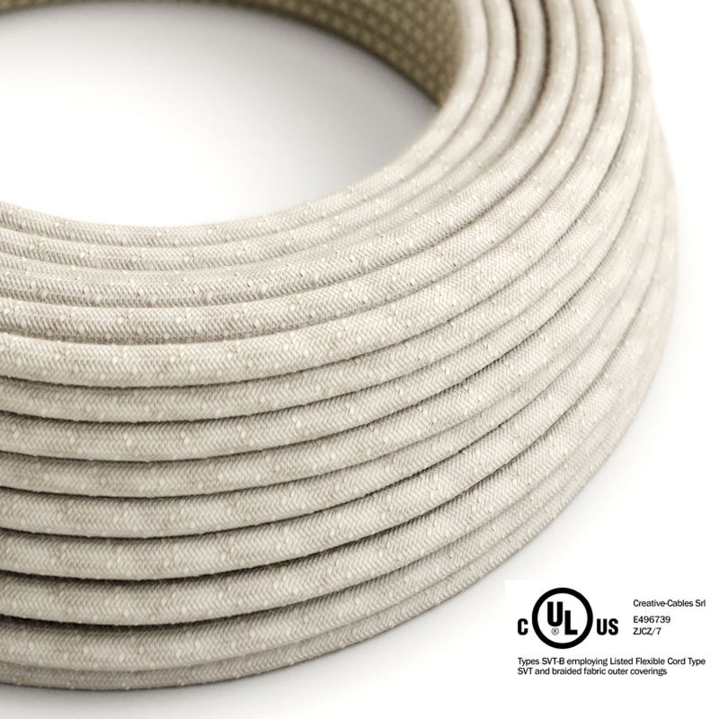 Natural Linen covered Round electric cable - RN01