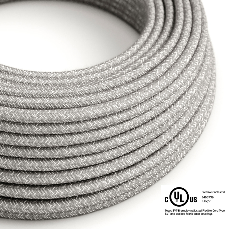 Gray Linen covered Round electric cable - RN02