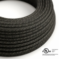 Charcoal Linen covered Round electric cable - RN03