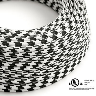 Black & White Houndstooth covered Round electric cable - RP04