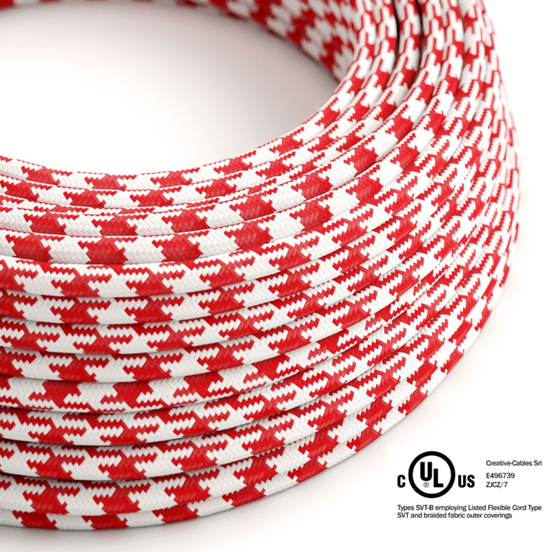 Red & White Houndstooth covered Round electric cable - RP09