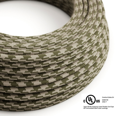 Thyme & Ivory Cotton Houndstooth covered Round electric cable - RP30