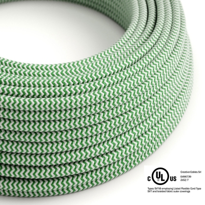 Green & White Chevron covered Round electric cable - RZ06