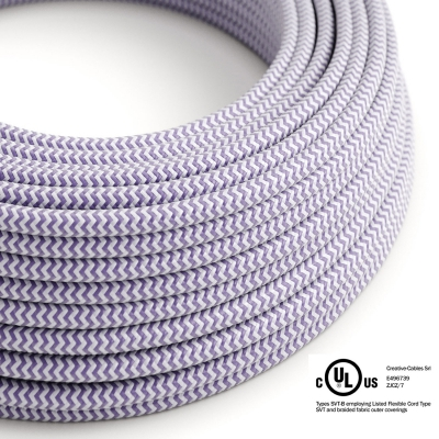 Lilac & White Chevron covered Round electric cable - RZ07
