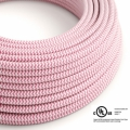 Fuchsia & White Chevron covered Round electric cable - RZ08