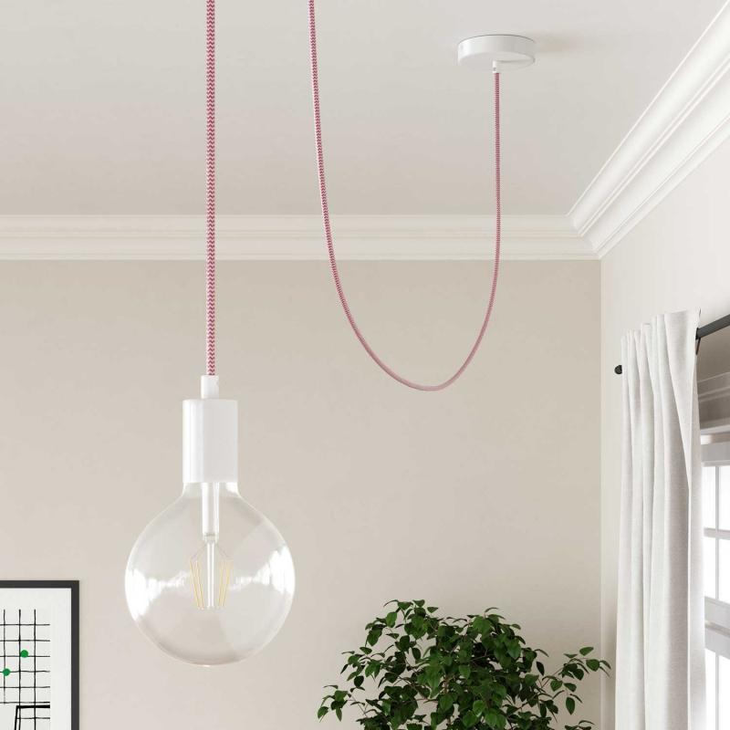 Fuchsia & White Chevron covered Round electric cable - RZ08