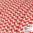 Red & White Chevron covered Round electric cable - RZ09