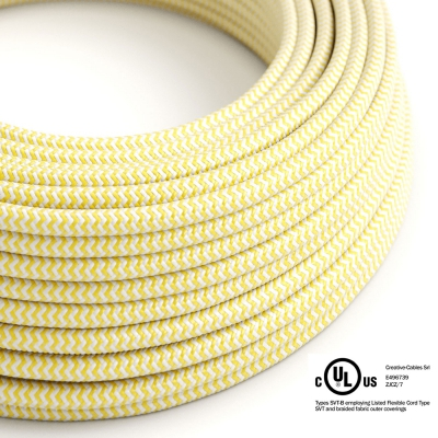 Yellow & White Chevron covered Round electric cable - RZ10