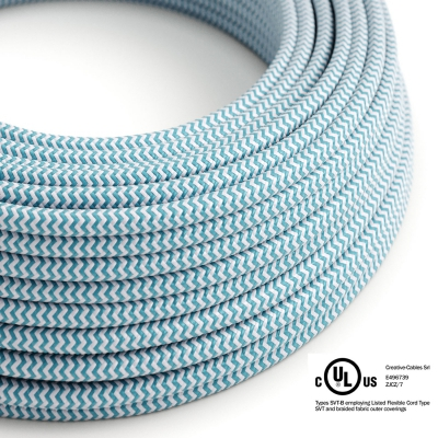 Light Blue & White Chevron covered Round electric cable - RZ11