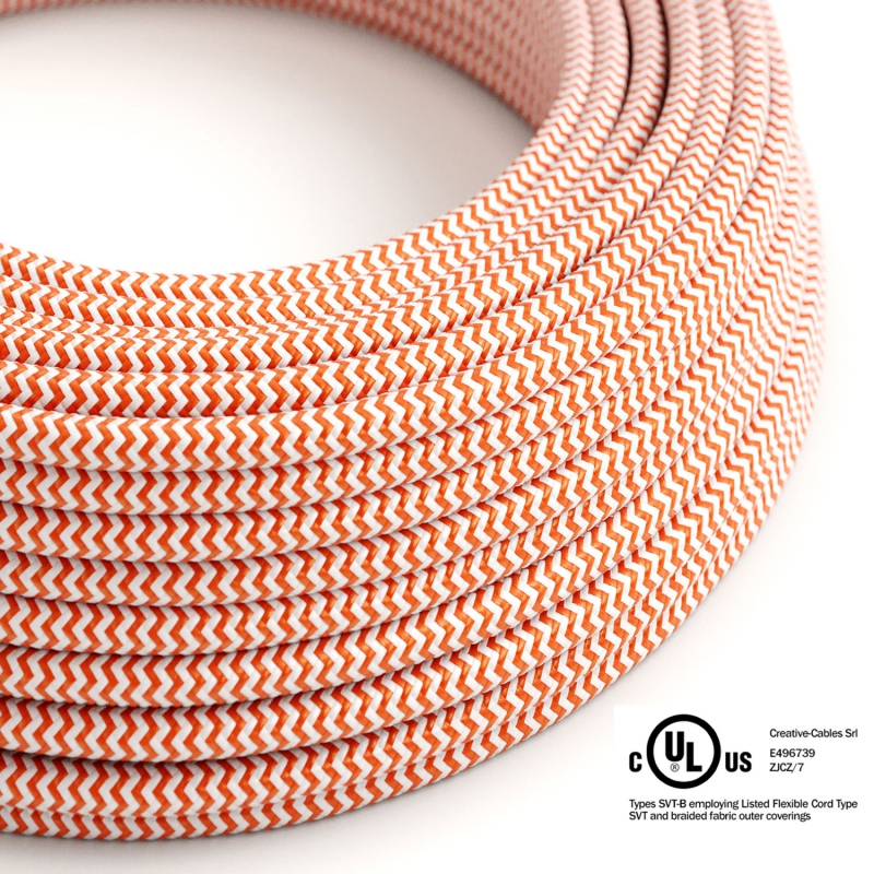 Orange & White Chevron covered Round electric cable - RZ15