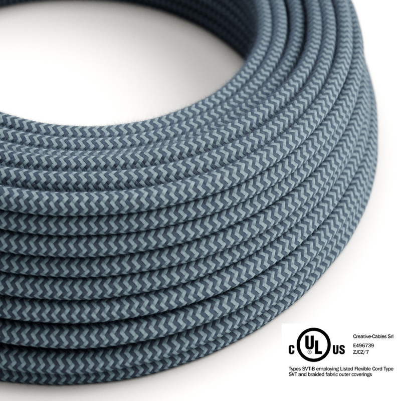 Blue Cotton chevron covered Round electric cable - RZ25