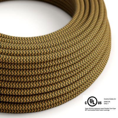 Mustard & Charcoal Cotton Chevron covered Round electric cable - RZ27