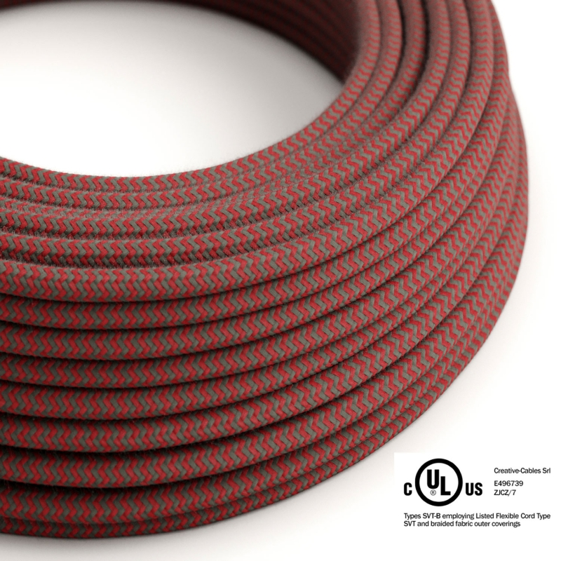 Red & Gray Cotton Chevron covered Round electric cable - RZ28