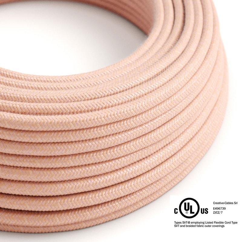 Salmon Cotton covered Round electric cable - RX13